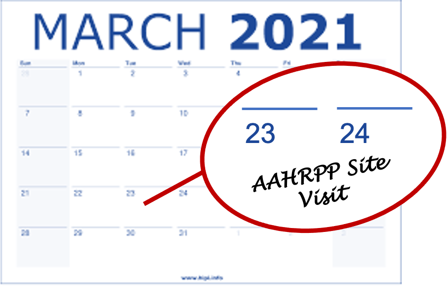 AAHRPP March 2021 Site Visit Dates