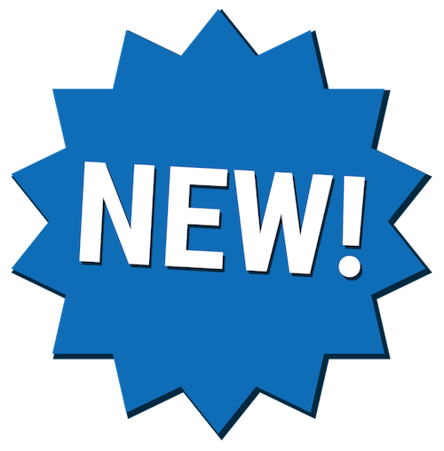 Blue New! burst icon