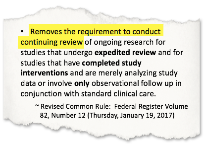Image showing the text explaining the 2018 Common Rule change to the Continuing Review requirement