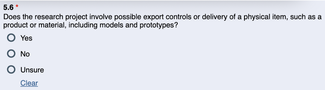 Image of the Export Controls question in the PAF