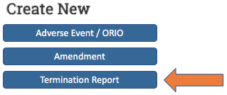 Image showing the Termination Report submission option in eRRM