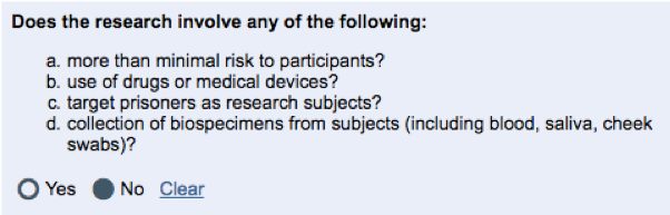 "Image of the four questions that screen a human subjects study from qualifying as ""exempt"" research"