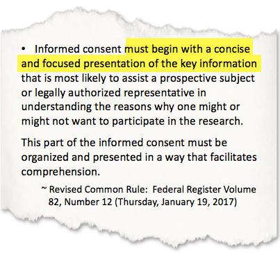 Image of 2018 Common Rule text highlighting informed consent